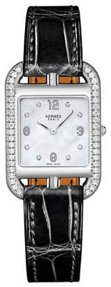 Hermes Cape Cod PM Watch with Diamonds & Alligator Strap, Black