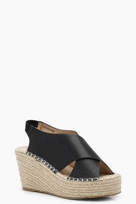 boohoo Cross Strap Sling Back Espadrille Wedges