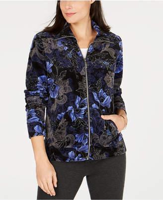 Karen Scott Petite Floral-Print Velour Jacket