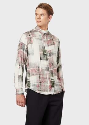 Emporio Armani Printed Shirt In Viscose Twill With Mandarin Collar