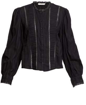 Etoile Isabel Marant Peachy Crochet Insert Cotton Voile Blouse - Womens - Black