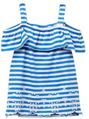 Nautica Striped Cold Shoulder Popover Top (Little Girls)