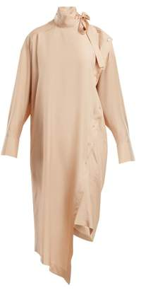 Valentino Tie Neck Silk Dress - Womens - Beige