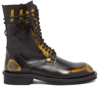 Ann Demeulemeester Distressed Leather Ankle Boots - Womens - Black Multi