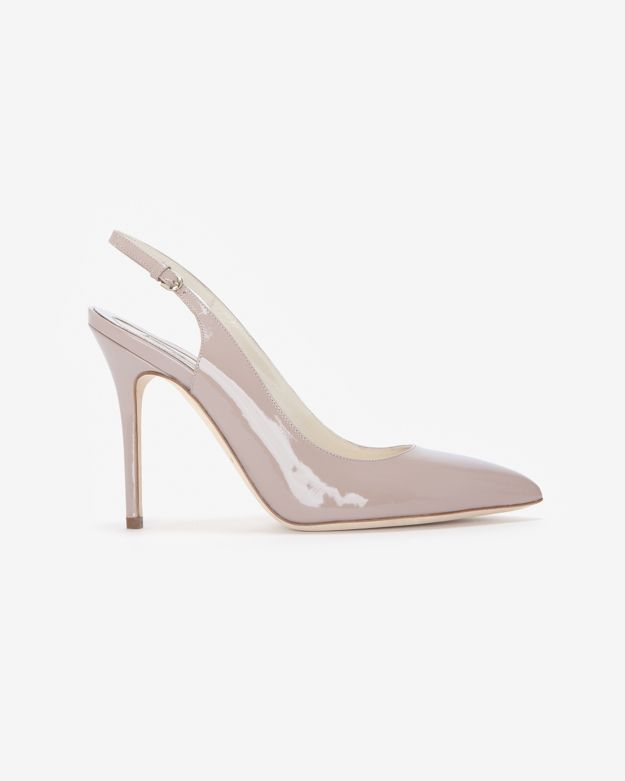 Brian Atwood Kali Patent Leather Slingback: Nude