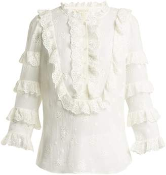 Rebecca Taylor Dree broderie-anglaise cotton and silk-blend top