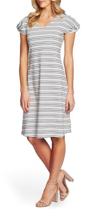 CeCe Puffed Sleeve Striped Shift Dress
