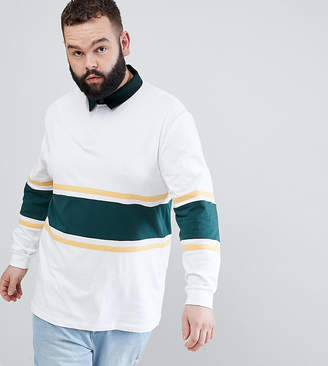 Asos Design Plus Relaxed Long Sleeve Rugby Polo Shirt With Contrast Panelling In White