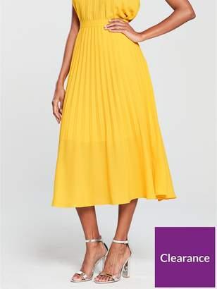 Warehouse Pleated Midi Skirt - Yellow
