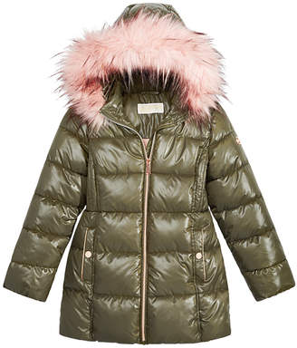 Michael Kors Big Girls Hooded Puffer Jacket with Faux-Fur Trim
