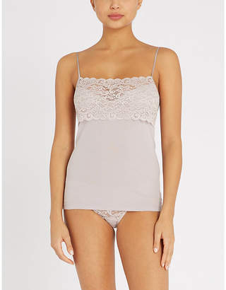 Hanro Moments lace and cotton-jersey camisole top