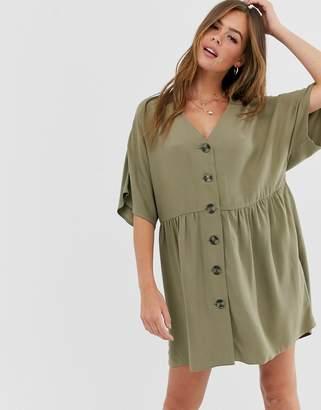 Asos Design DESIGN v neck button through mini smock dress