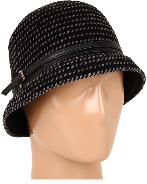 Jessica Simpson Double Buckle Cloche (Black) - Hats