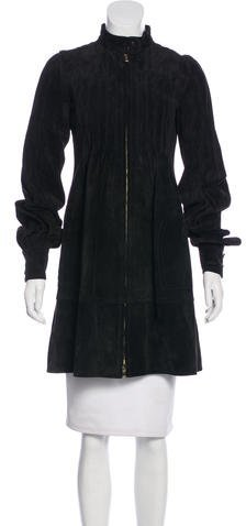 Balenciaga Balenciaga Suede Knee-Length Coat