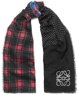 Loewe Patchwork Wool-blend Scarf - Black