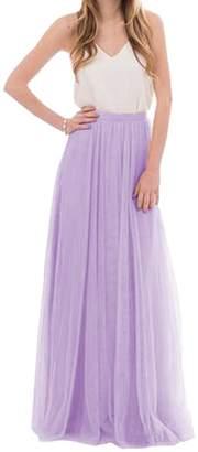 Omelas Womens Long Floor Length Tulle Skirt High Waisted Maxi Tutu Party Dress (, XS)