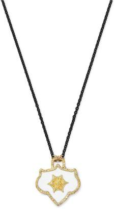 Armenta 18K Yellow Gold & Blackened Sterling Silver Crivelli Champagne Diamond Shield Pendant Necklace, 16