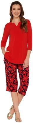 Susan Graver Liquid Knit Tunic and Printed Pants Set