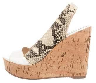 Fendi Snakeskin Platform Wedge Sandals
