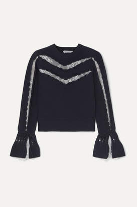 Self-Portrait Lace-trimmed Ruffled Cotton And Wool-blend Sweater - Navy