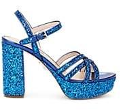 Miu Miu Women's Glitter & Leather Multi-Strap Platform Sandals - Bluette