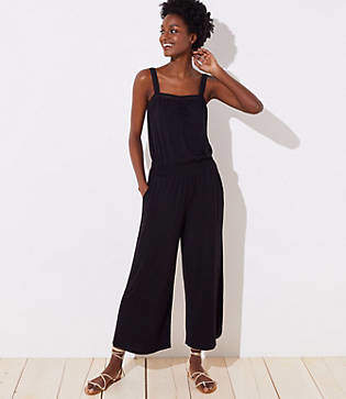 LOFT Beach Smocked Wide Leg Jumpsuit