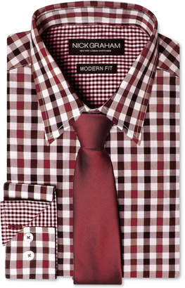 Nick Graham Men Modern Fitted Multi-Gingham Dress Shirt & Solid Tie Set