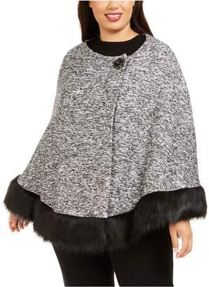 JM Collection Plus Size Faux-Fur-Trimmed Poncho