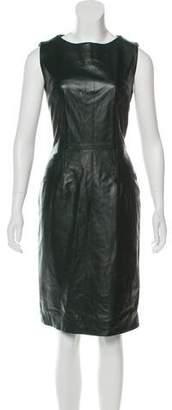 Oscar de la Renta Leather Knee-Length Dress