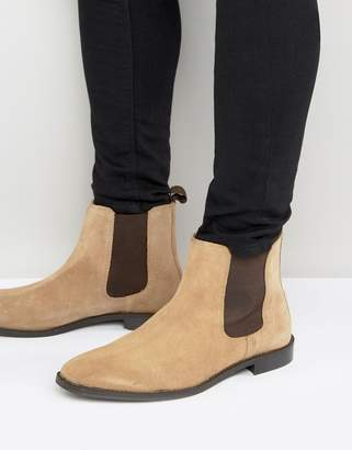 Asos Design Chelsea Boots in Stone Suede With Back Pull
