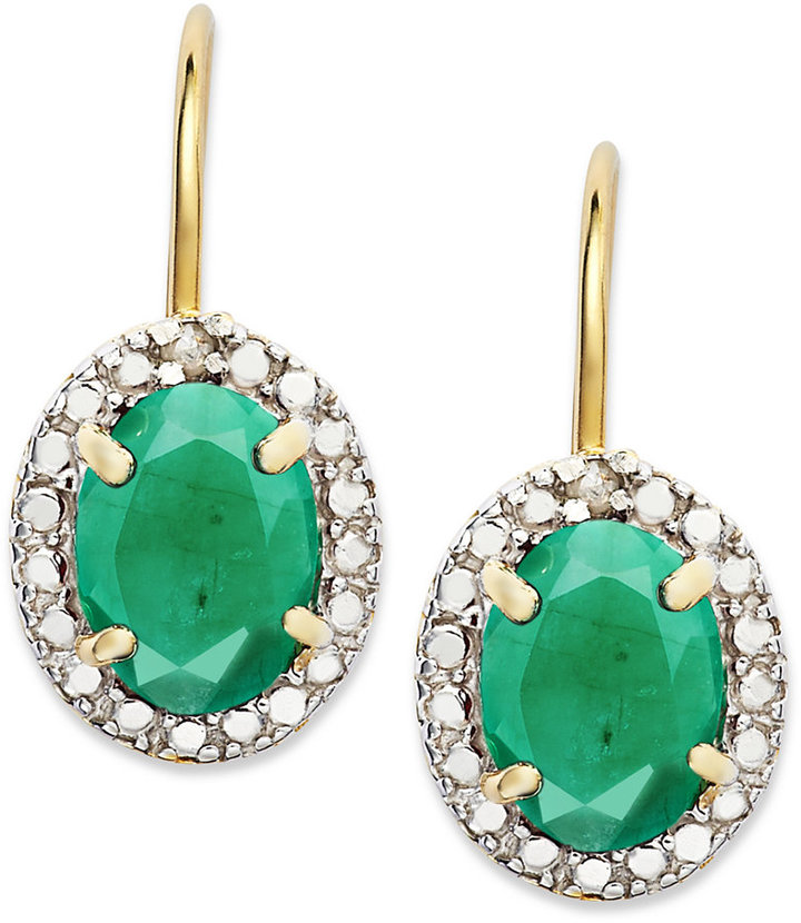 Townsend Victoria 18k Gold over Sterling Silver Earrings, Emerald (2-1/5 ct. t.w.) and Diamond Accent Leverback Earrings