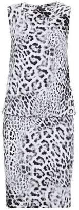 Norma Kamali Gathered Leopard-Print Ponte Mini Dress