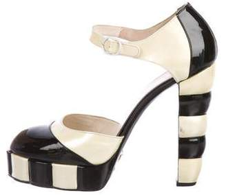 Chanel Patent Leather Two-Tone Strap Pumps