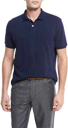 Brunello Cucinelli Pique Polo Shirt, Navy