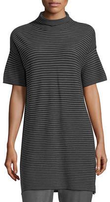 Eileen Fisher Short-Sleeve Striped Merino Tunic