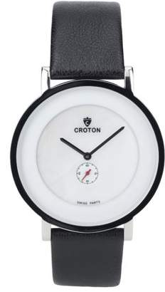 Croton Men's Ultra Thin Silvertone Leather Strap Watch