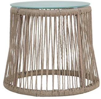 Noble House Fatima Outdoor Steel and Rope Side Table with Tempered Glass Table Top, Brown