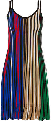 Kenzo Mesh-trimmed Striped Knitted Dress