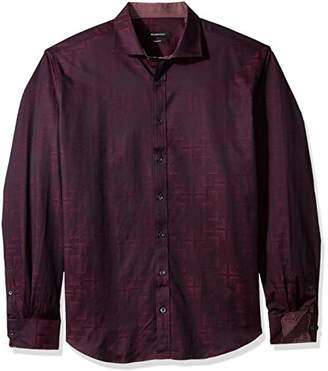Bugatchi Men's Shaped Fit Spread Collar Long Sleeve Button Down Shirt