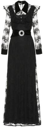 Miu Miu Embellished velvet-trimmed lace gown