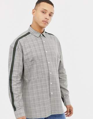 Asos Design DESIGN relaxed check shirt with dropshoulder and tape detail
