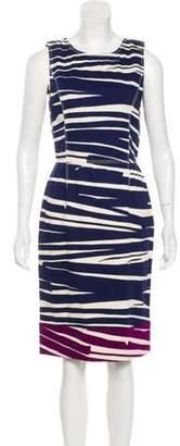 Oscar de la Renta Sleeveless Midi Dress Navy Sleeveless Midi Dress