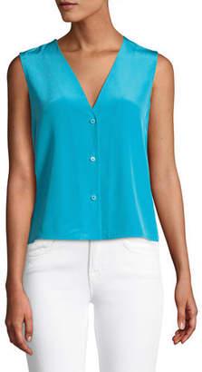 Diane von Furstenberg Sleeveless Silk Button-Up Top