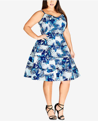 City Chic Trendy Plus Size Blue Hawaii Printed Fit & Flare Dress
