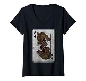 Womens Poker Card Halloween Werewolf V-Neck T-Shirt