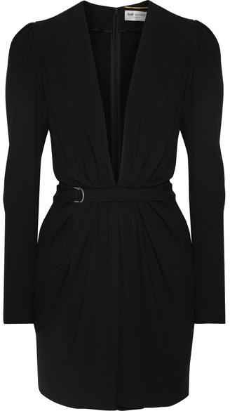 Saint Laurent Saint Laurent - Gathered Crepe Mini Dress - Black