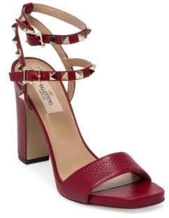 Valentino Rockstud Leather Ankle-Strap Sandals