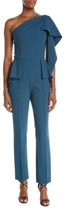 Josie Natori One-Shoulder Drape Peplum-Waist Straight-Leg Cady Jumpsuit