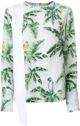 Stella McCartney palm leaf and parrot print top