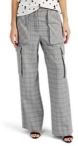 Prabal Gurung Women's Plaid Wool Cargo Trousers - Grey, White